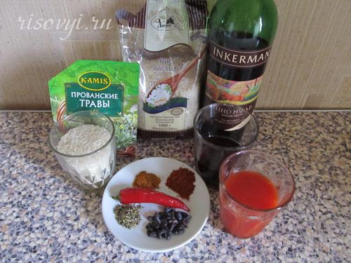 Ингредиенты для острого ризотто