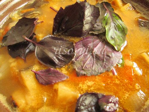 Суп овощной с баклажанами