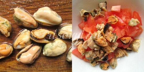 Мидии для салата с помидорами и моцареллой