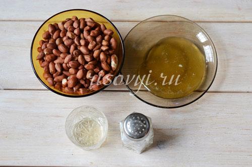 Продукты для приготовления арахисовой пасты
