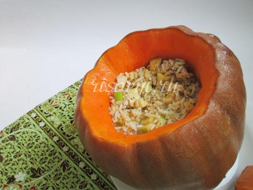 Рис в тыкве в духовке