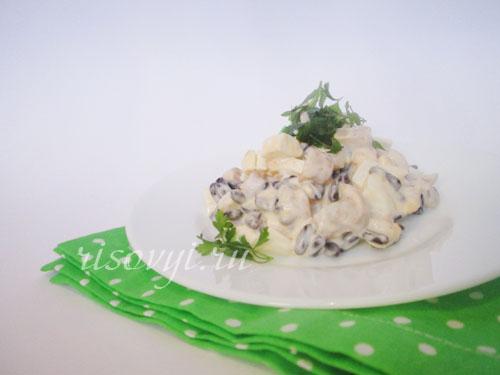 Салат из фасоли с грибами: рецепт