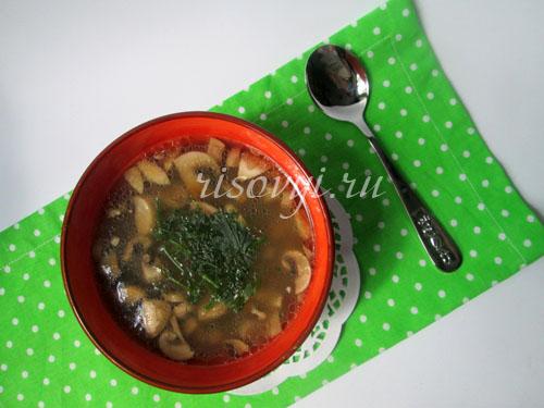 Суп из шампиньонов: пошаговый рецепт с фото