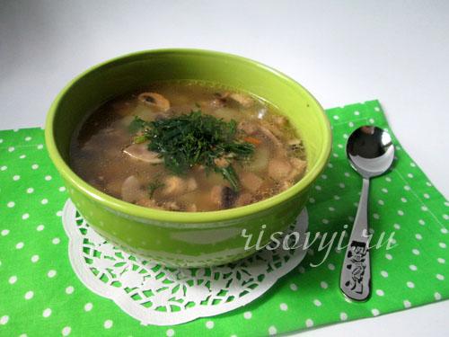 Суп из шампиньонов: рецепт с фото
