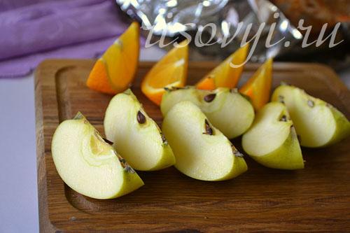 Апельсины и яблоки для фарширования утки