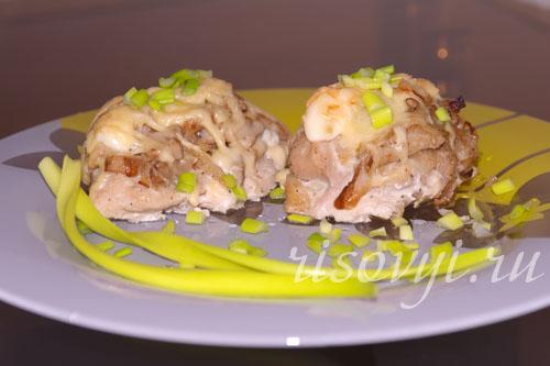 Курица с грибами и сыром в духовке: фото