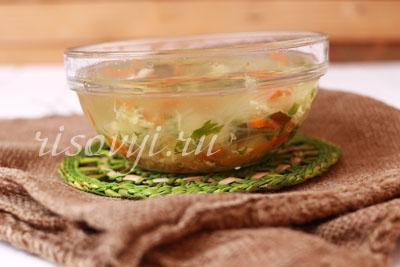 Мясной суп с рисовой вермишелью