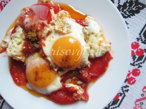 Яичница с помидорами: рецепт с фото